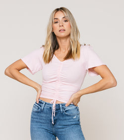 Striped Ribbed Tie Cinched Front Tee