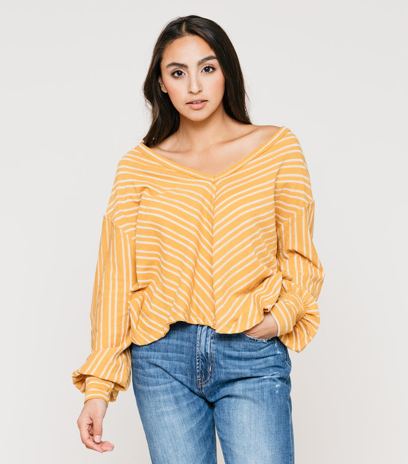 Stripe V Neck LS Pull Over Sweater