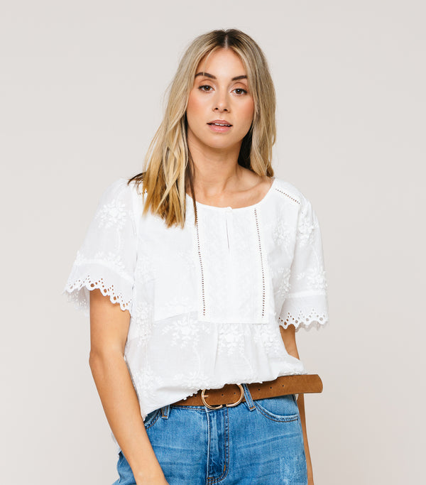 Lace Detail Cotton Blouse
