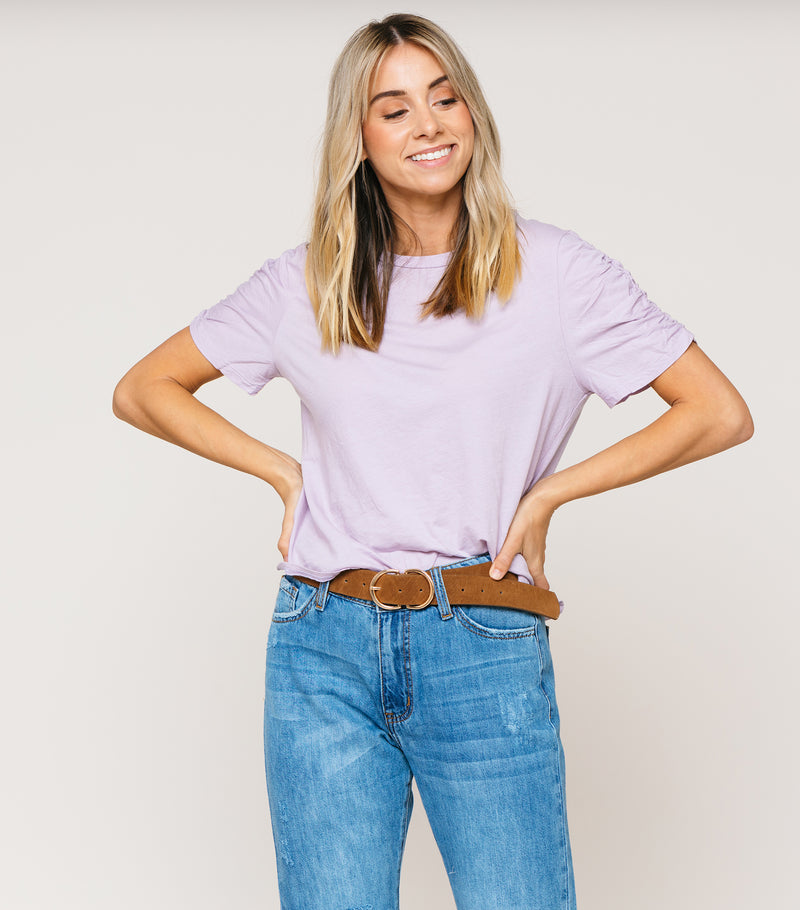 Cinched Sleeve Basic Tee