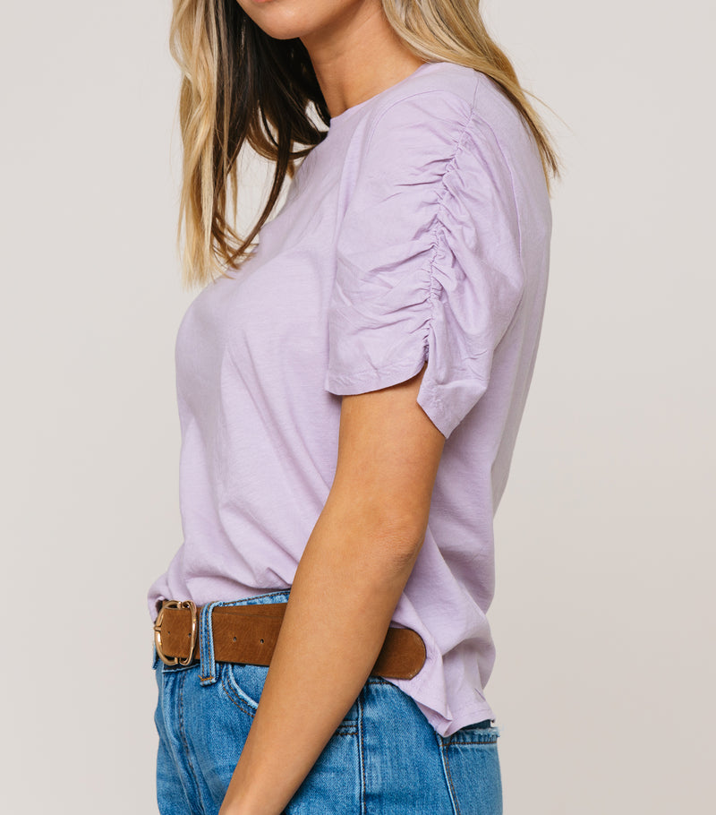 Cinched Sleeve Basic Tee White