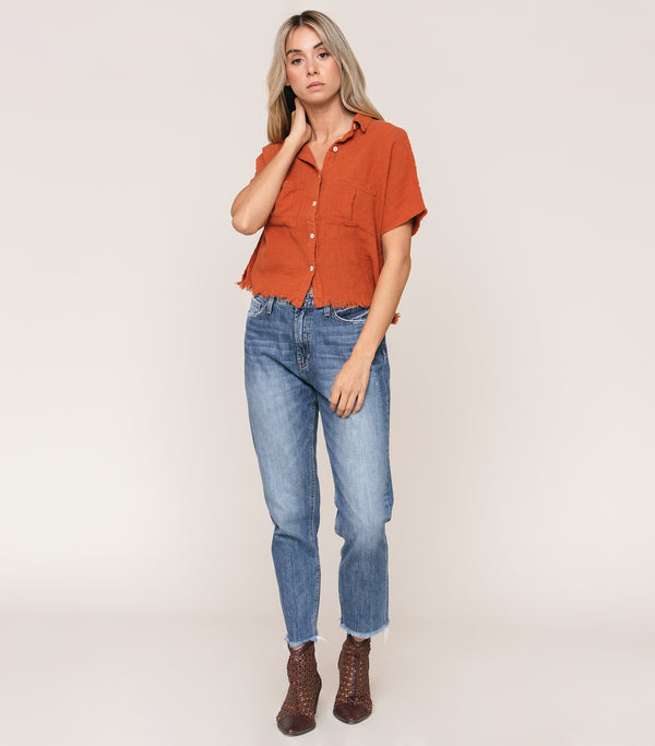 Squared Button up Textured Blouse