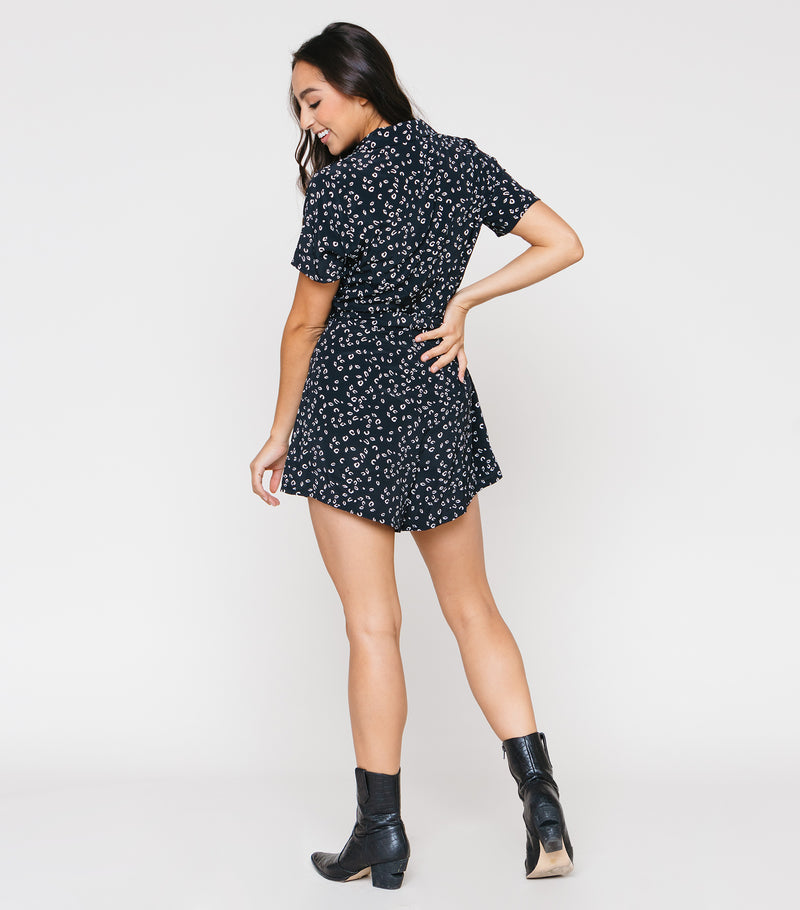 Belted Button Up SS Romper