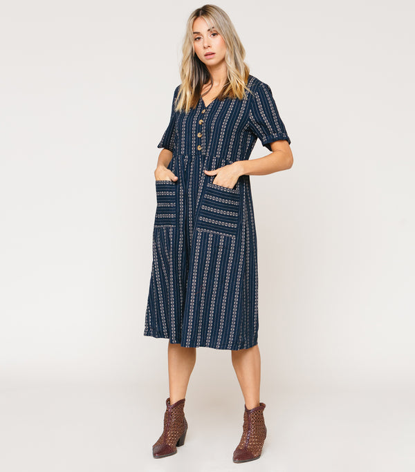 Multi print Stripe Drop Waist Dress