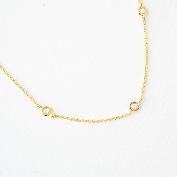Crystal Bezel Trio Necklace