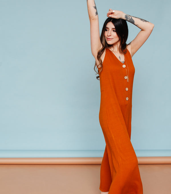 At A Glance Jumpsuit-Rust