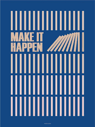 make it happen blue 50x70