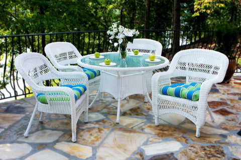 Tortuga Outdoor Portside 5 Piece Wicker Dining Set Dimensions: