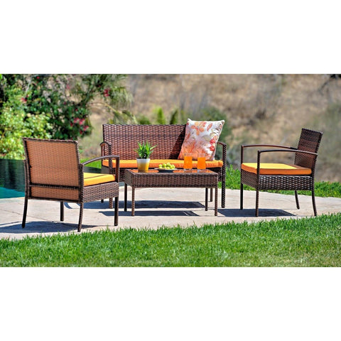 Thy-HOM - Teaset Four-Piece Patio Conversation Set with Orange Cushions -  - Conversation Set - 1