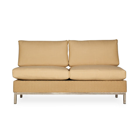 Lloyd Flanders Lloyd Flanders Elements Armless Settee With Stainless Steel Arms & Back Settee - Rattan Imports