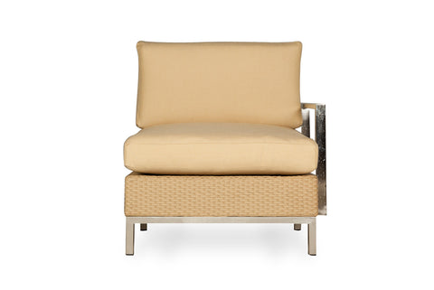 Lloyd Flanders Lloyd Flanders Elements Left Arm Lounge Chair With Stainless Steel Arms & Back Chair - Rattan Imports