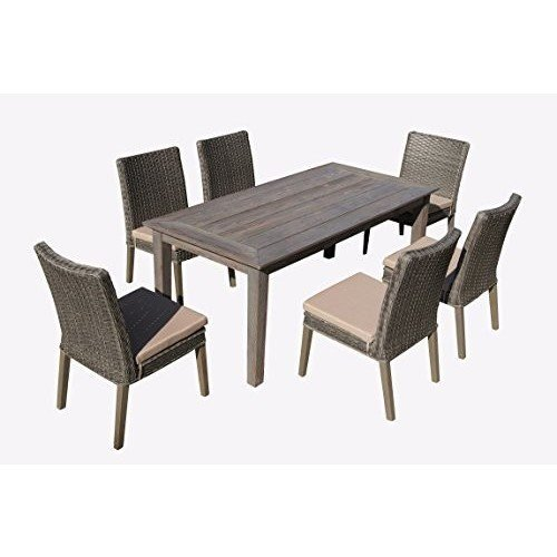 Thy-HOM - Winchester 7-Piece Antique Grey Hard Wood/Grey All-Weather Wicker Patio dining Set With Beige Cushions -  - Thy-HOM Patio Dining Sets