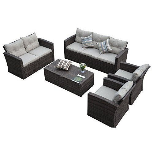 Thy-HOM - Rio-5 Piece 7 Seat Dark Brown All Weather Wicker Conversation set with Storage and Tan Color Cushions -  - Conversation Set