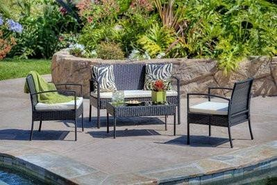 Thy-HOM Teaset 4-Piece All-Weather Wicker Patio Seating Set Conversation Set - Rattan Imports