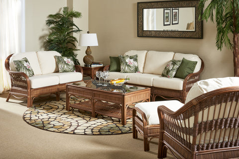South Sea Rattan Bermuda 6 Piece Seating Set in Pecan