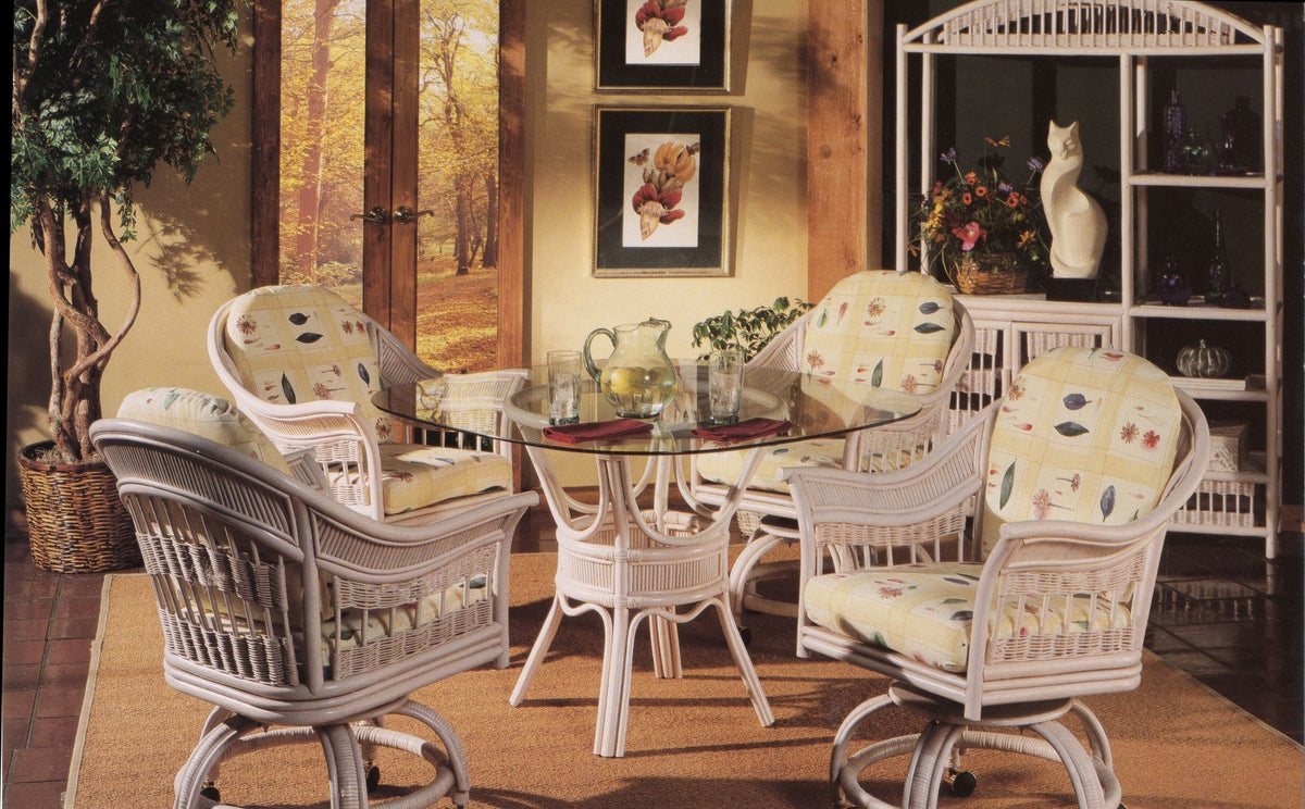 "South Sea Rattan Bermuda 48"" Swivel Dining Set"