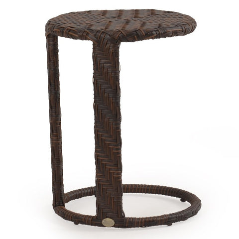 Palm Springs Rattan - Outdoor Round End Table Oyster Grey 6318 - Tortise shell -  - 1
