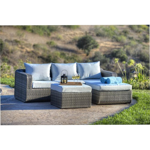 Thy-HOM - Luies 3-Piece All-Weather Wicker Patio Conversation Set -  - Conversation Set - 1
