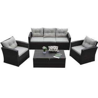 Thy-HOM - Rio-4 Piece 5 Seat Dark Brown All Weather Wicker Conversation Set with Storage and Tan Color Cushions -  - Conversation Set