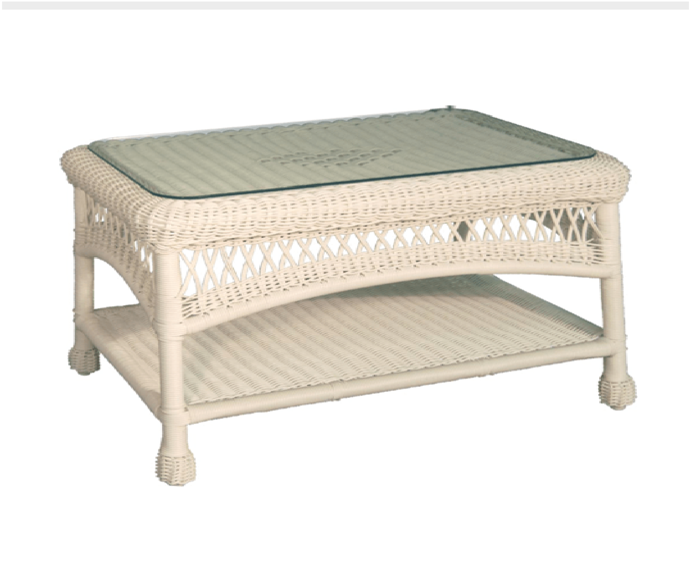 Charles Schober Resin Alum Coffee Table With Glass Top  - Rattan Imports
