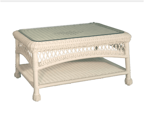 Resin Alum Coffee Table With Glass Top-Charles Schober-Rattan Imports