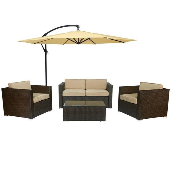 Thy-HOM - Cane Garden 5 Pieces Outdoor Wicker Conversation Set - Rustic Dark Brown -  - Conversation Set - 1