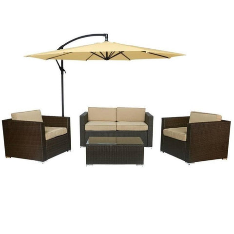 Thy-HOM Cane Garden 5 Pieces Outdoor Wicker Conversation Set - Rustic Dark Brown Conversation Set - Rattan Imports