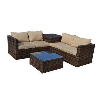 Thy-HOM Ventana 4-Piece All-Weather Dark Brown Wicker Patio Seating Set with Storage and Beige Cushions Conversation Set - Rattan Imports