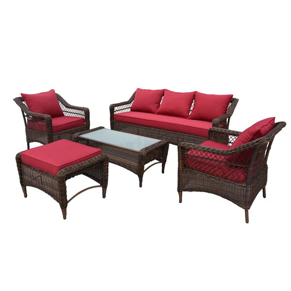 Thy-HOM - Romana 5-Piece All-Weather Wicker Patio Seating set with Red Cushions -  - Conversation Set