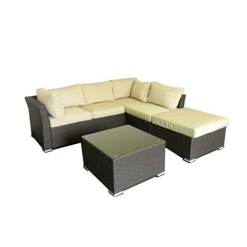 Thy-HOM - Jicaro 5 Pieces Outdoor Wicker Sectional Sofa Set - Rustic Dark Brown -  - Conversation Set