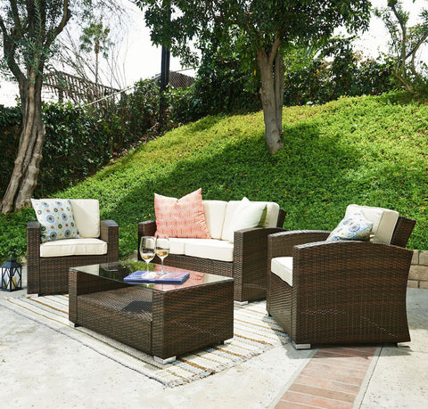 Thy-HOM Bahia 4 Pieces Outdoor Wicker Coversation Set Conversation Set - Rattan Imports