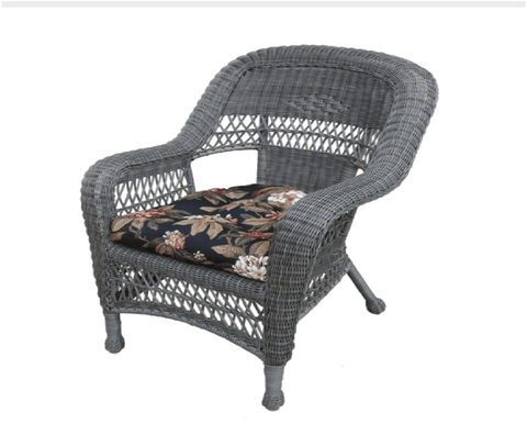 Charles Schober Resin Alum Chair With Cushion  - Rattan Imports