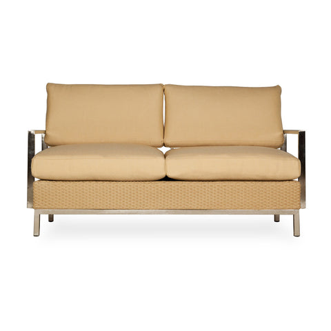 Lloyd Flanders Lloyd Flanders Elements Settee With Stainless Steel Arms & Back Settee - Rattan Imports