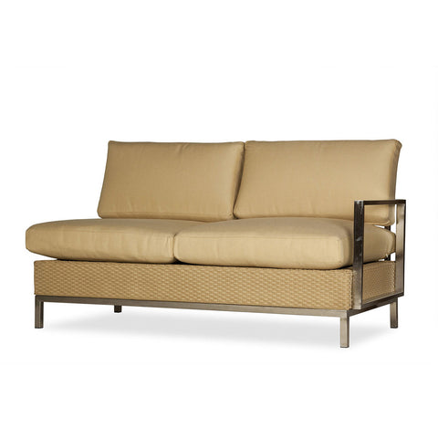 Lloyd Flanders Lloyd Flanders Elements Left Arm Settee With Stainless Steel Arms & Back Settee - Rattan Imports