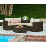 Thy-HOM - Ventana 4-Piece All-Weather Dark Brown Wicker Patio Seating Set with Storage and Beige Cushions -  - Conversation Set - 2