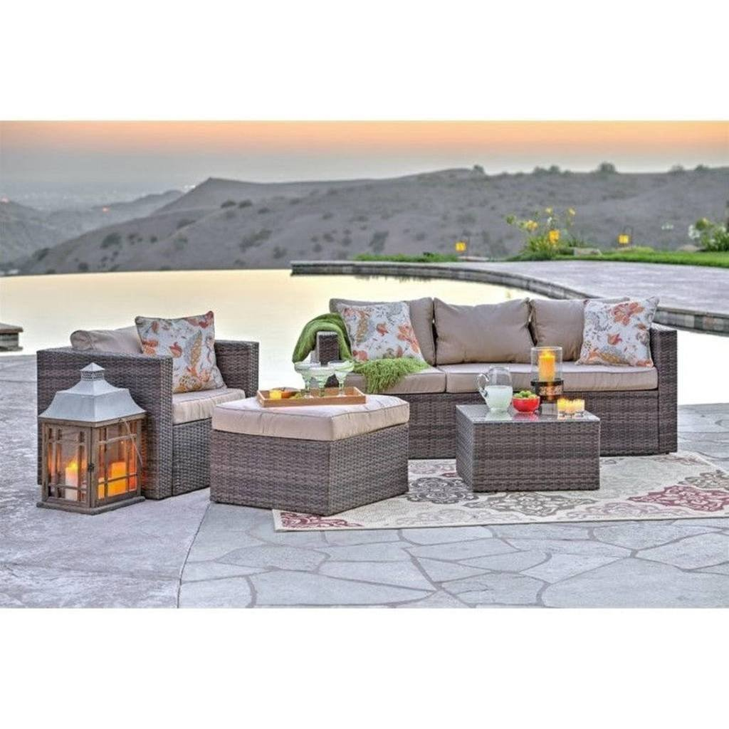 brown set patio source outdoor. Caribe 4-Piece All Weather Grey Wicker Patio Seating Set With Beige Cushions By Thy Brown Source Outdoor E