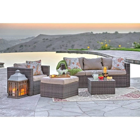 Thy-HOM Caribe 4-Piece All Weather Grey Wicker Patio Seating Set with Beige Cushions by Thy HOM Conversation Set - Rattan Imports