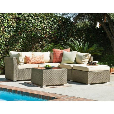 Thy-HOM - Jicaro 5 Pieces Outdoor Wicker Sectional Sofa Set - Natural Rustic Light Brown -  - Conversation Set - 1