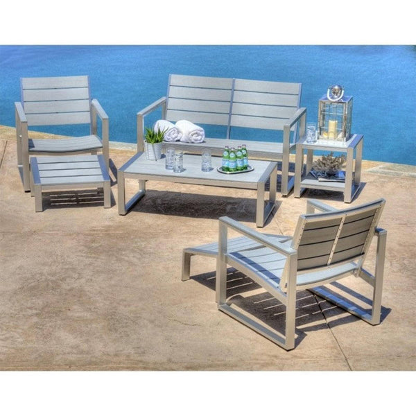 Thy-HOM - Liberty 7-Piece All-Weather Grey Color Engineer Plywood Patio Seating Set -  - Conversation Set - 1