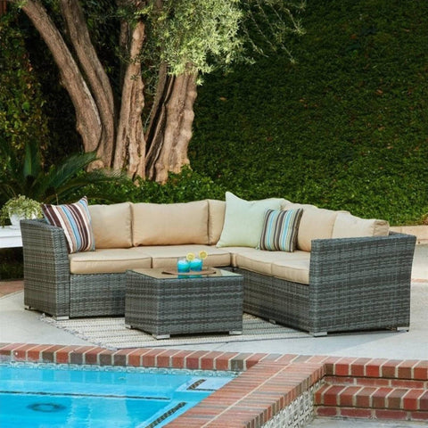 Thy-HOM - Mirge 4-Piece All-Weather Grey Wicker Patio Seating Set with Beige Cushions -  - Conversation Set - 1