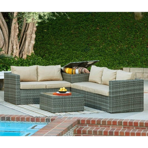 Thy-HOM Gran Melia 4-Piece All-Weather Greyt Wicker Patio Seating Set With Storage and Beige Cushions by Thy HOM Conversation Set - Rattan Imports