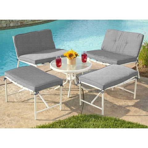 Thy-HOM Della 5-piece Patio Conversation Set with Gray Cushions by Thy HOM Conversation Set - Rattan Imports