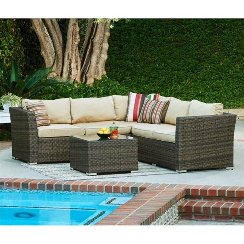 Thy-HOM - Mirge 4-Piece All-Weather Dark Brown Wicker Patio Seating Set With Beige Cushions -  - Conversation Set - 2