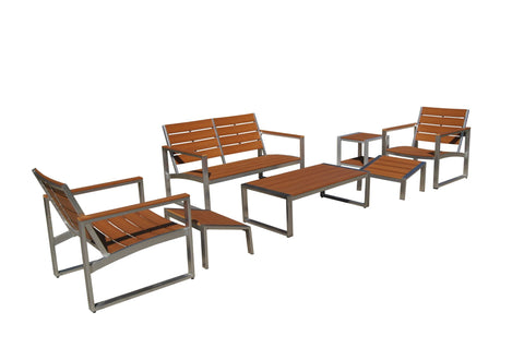 Thy-HOM Liberty 7-Piece All-Weather Brown Color Engineer Plywood Patio Seating Set Conversation Set - Rattan Imports