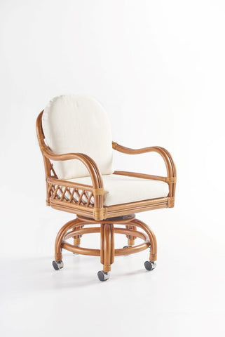 South Sea Rattan Antigua Swivel Tilt Caster Dining Chair