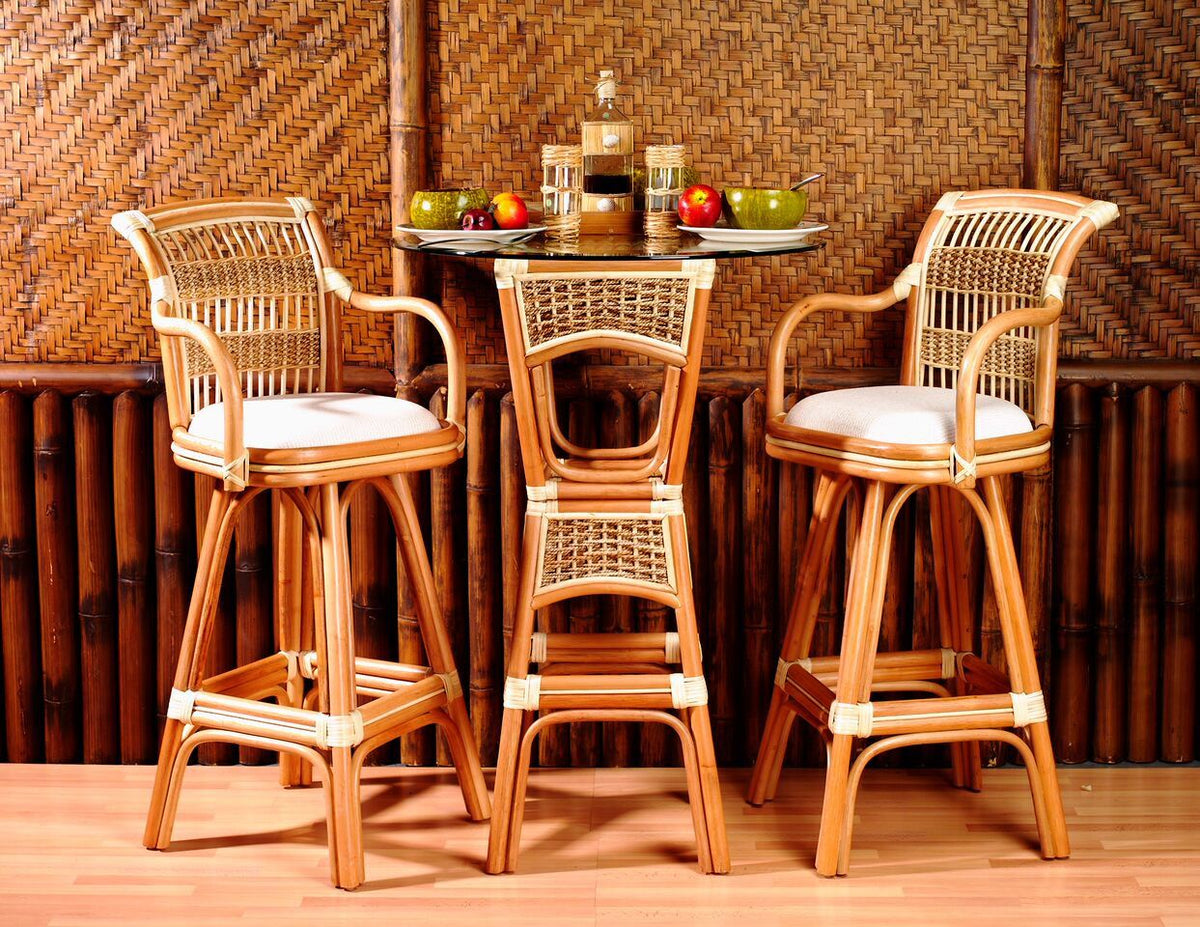 "Spice Islands Spice Island Bar Stool 24"" Natural Bar Stool - Rattan Imports"