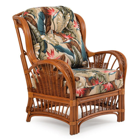 Watermark Living Watermark Living Cordova Rattan High Back Chair Pecan Glaze Satin 4405 Chair - Rattan Imports