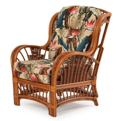 Watermark Living Cordova Rattan High Back Chair Pecan