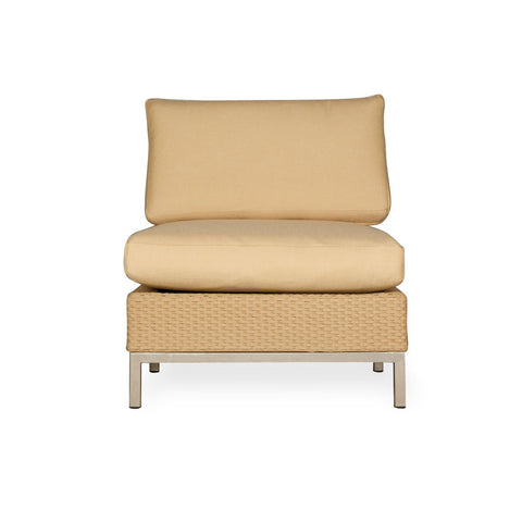 Lloyd Flanders Lloyd Flanders Elements Armless Lounge Chair With Stainless Steel Arms & Back Chair - Rattan Imports