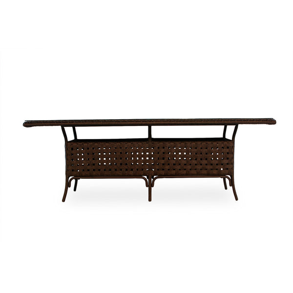 "Lloyd Flanders Haven 84"" Rectangular Umbrella Table W/lay On Glass In Tobacco Finish."
